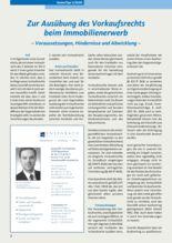 (2020-1) Zur Ausübung des Vorkaufsrechts beim Immobilienerwerb